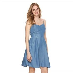 Darling Fit and Flare Chambray Tie Back LC Dress L
